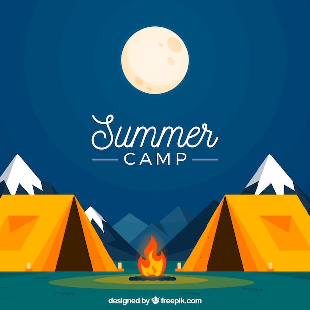 Summer camp background with quiet night Free Vector