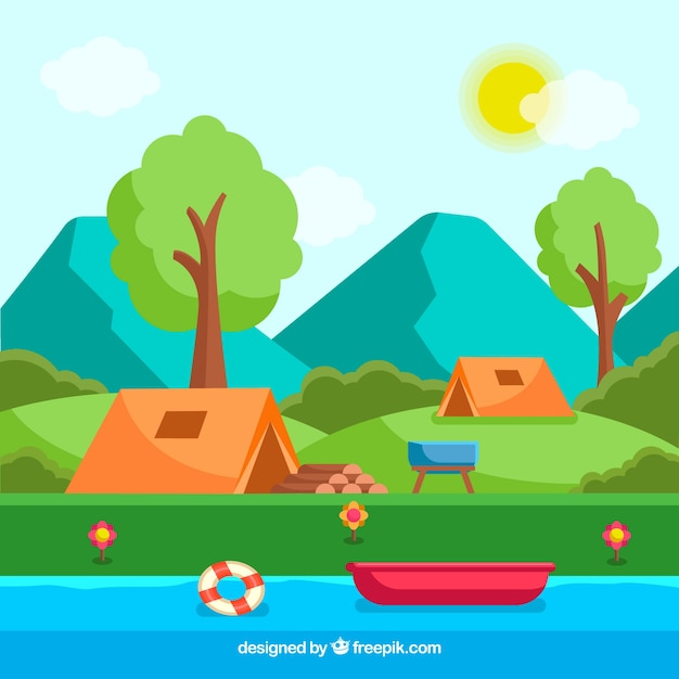 Summer camp background with river and\ tents