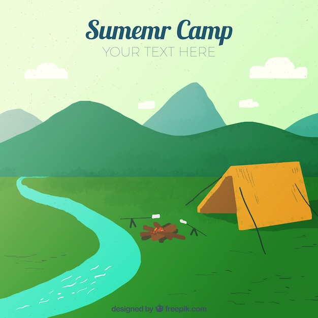 Summer camp background with river