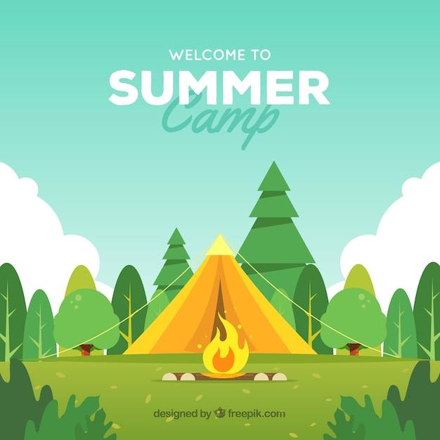 木とキャンプファイヤーがあるサマーキャンプの背景 Premiumベクター
