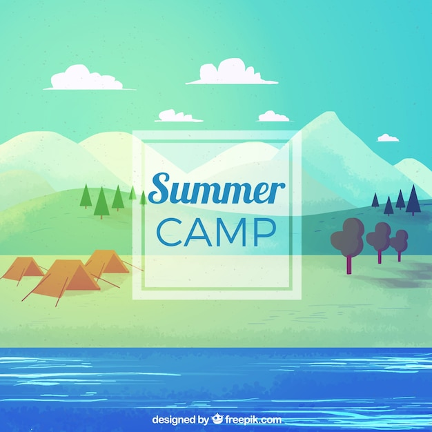Summer camp background with water
