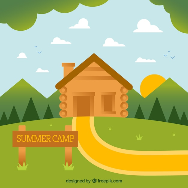 Summer camp background with wooden house Free Vector