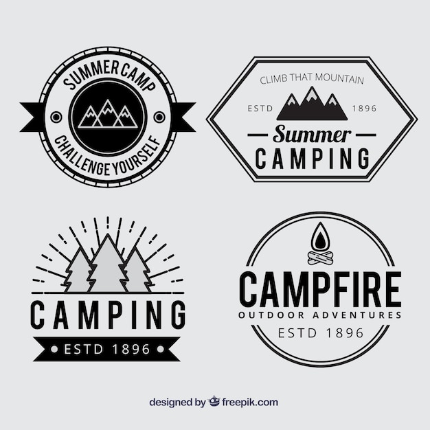 summer camp badges in black and white vector free download