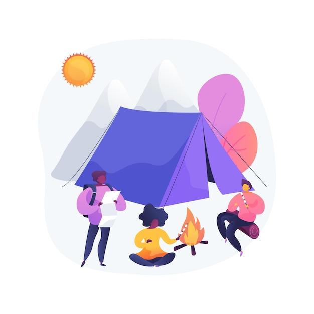 Летний лагерь для детей абстрактная концепция иллюстрации Бесплатные векторы