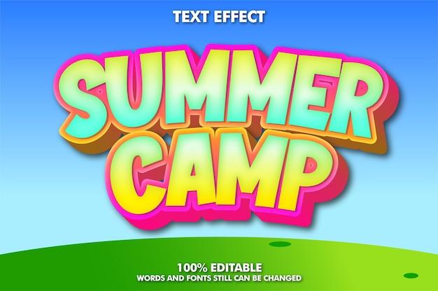 Summer camp, modern cartoon font effect Free Vector