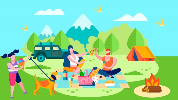 Summer camp and picnic in forest cartoon Premium Vector