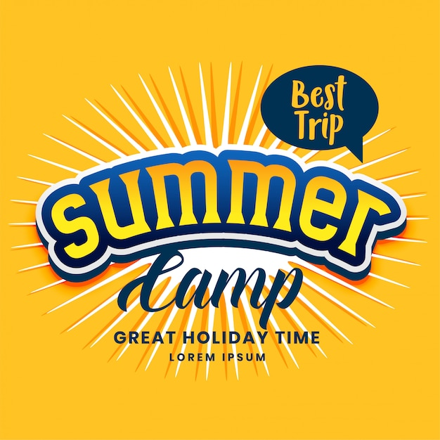 Summer camp poster design in yellow color Free Vector