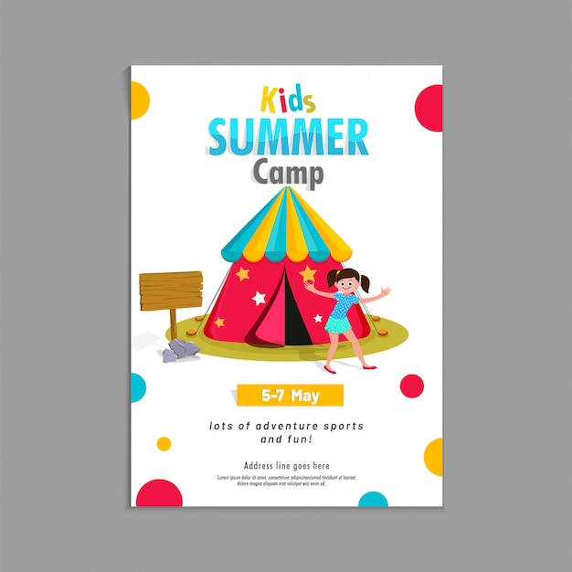 Summer Camp Poster Flyer Or Banner Design Premium Vector