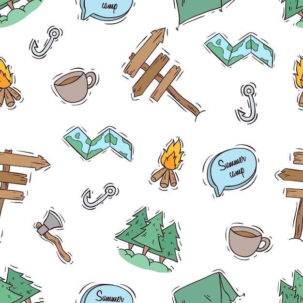 Summer camp seamless pattern with colored style Premium Vector