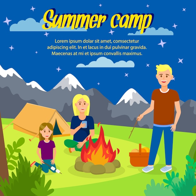 Summer camp vector square banner with copyspace. Premium Vector