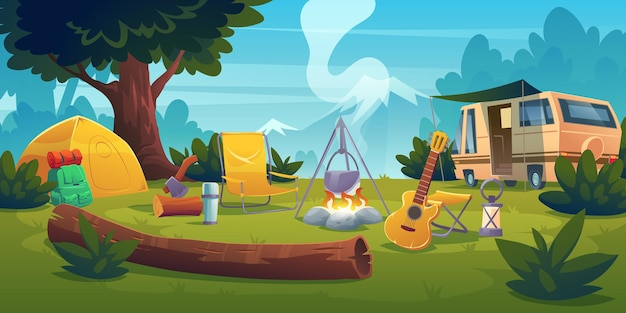 Summer camp with bonfire, tent, van, backpack, chair and guitar. Free Vector