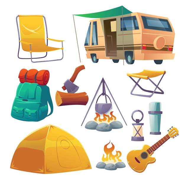 Summer camp with tent, bonfire, backpack and van Free Vector
