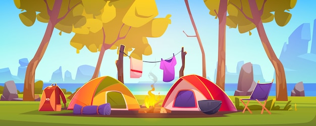 Summer camp with tent, campfire and lake Free Vector