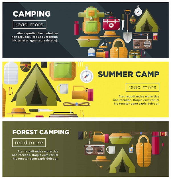 Summer camping and forest camp banners Premium Vector