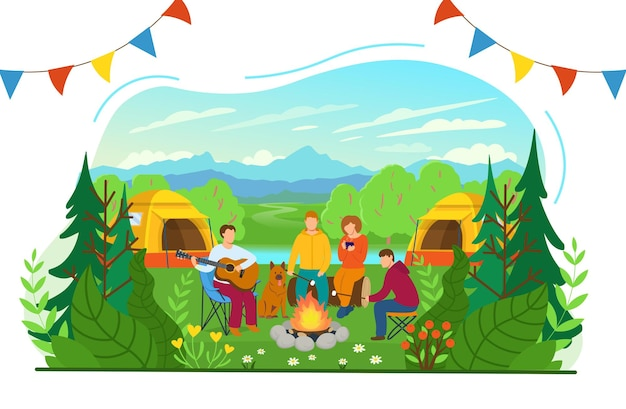Summer camping. forest landscape with tourists around the campfire. tourists are playing the guitar, drinking hot tea and roasting marshmallows. flat vector illustration in cartoon style. Premium Vector