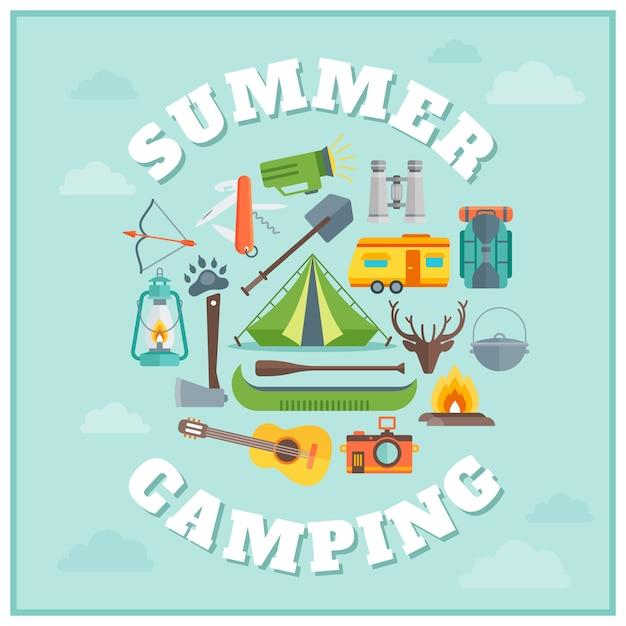 Design tondo da campeggio estivo Vettore gratuito