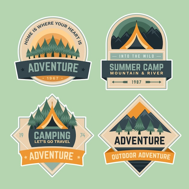 여름 캠핑 학교 모험 배지 무료 벡터