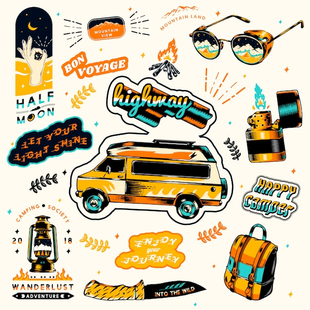 Summer camping stickers Free Vector