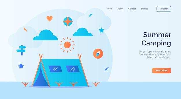 Летний кемпинг палатка компас солнце значок кампания для домашней страницы веб-сайта посадочный шаблон баннер с мультяшным плоским стилем вектор Premium векторы