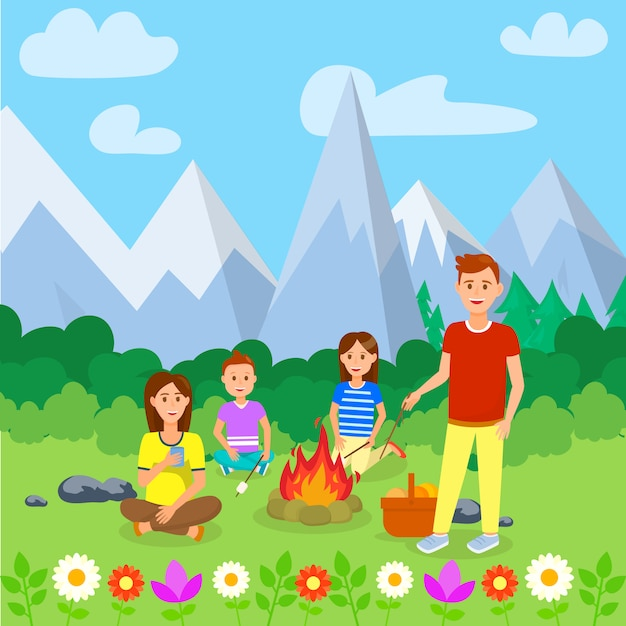 Summer camping with family cartoon illustration. Premium Vector