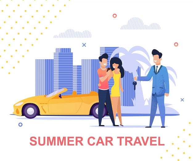 Summer car travel and carsharing service banner Premium Vector