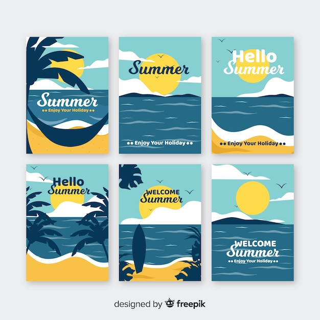 Summer card collection Free Vector