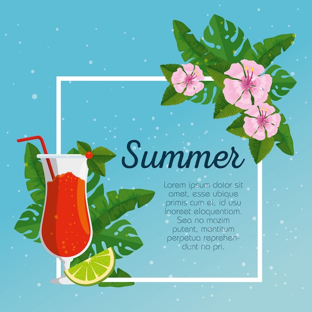 Summer card and tropical flowers with leaves and cocktails Free Vector