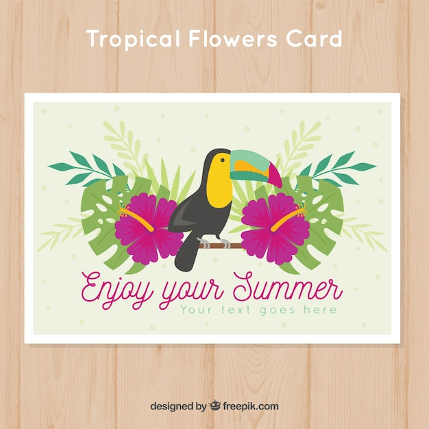Summer card with flowers and toucan