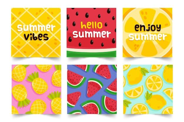 Концепция коллекции летних открыток Бесплатные векторы