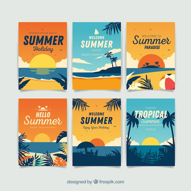 Summer cards collection with beach elements Free Vector