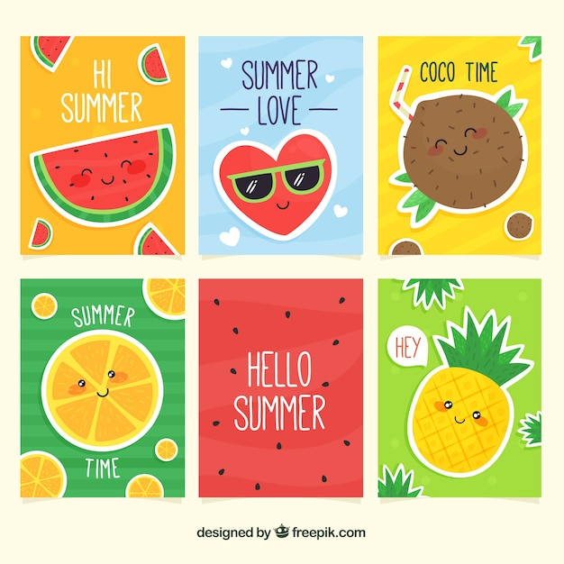 Summer cards collection with cute cartoons Free Vector