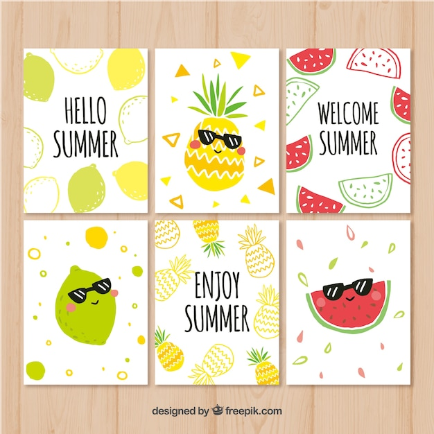 Summer cards collection with funny fruits Free Vector