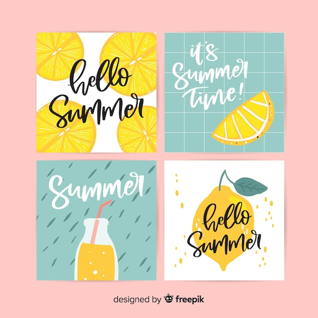 Summer cards collection Free Vector