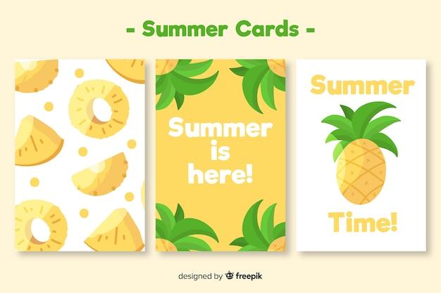 Collezione di carte estive Vettore gratuito