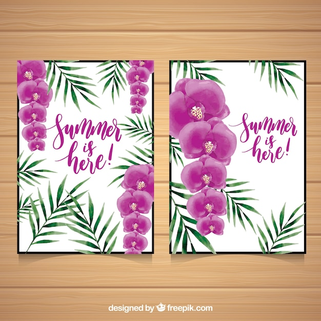 Summer cards with flowers and palm\ leaves