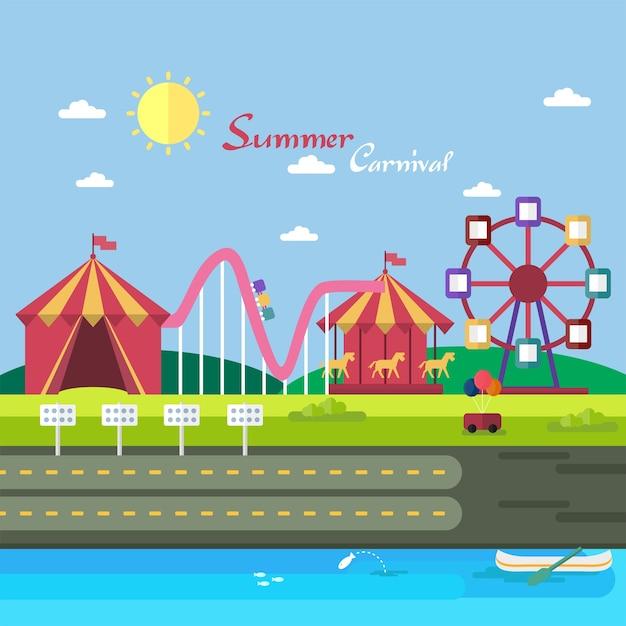 Summer Carnival Background Design Vector Free Download