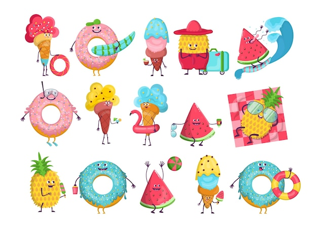 Summer cartoon characters set. cartoon illustration Free Vector