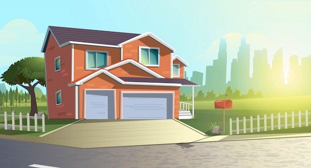 Summer cartoon  illustration of modern cottage house among trees in the green countryside field outside of the town. Premium Vector