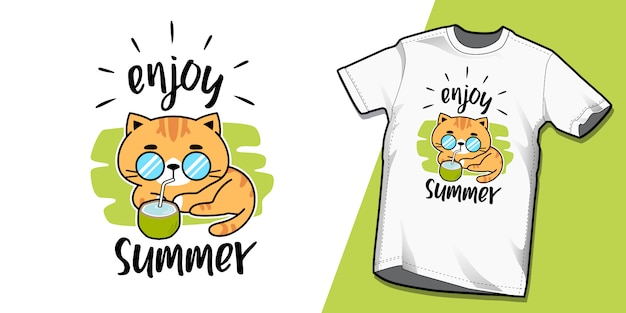夏猫tシャツテンプレートデザイン Premiumベクター
