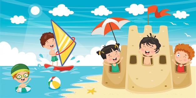 Summer children banner Premium Vector