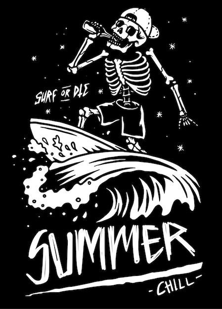 Summer chill skeleton skull surf illustration Premium Vector