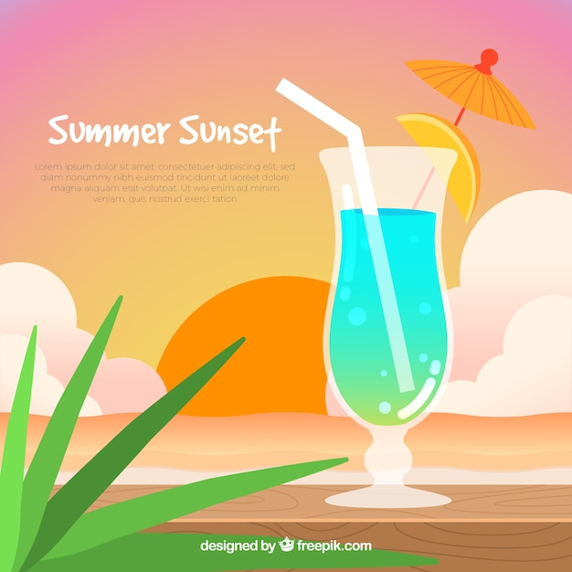 Summer cocktail at sunset background