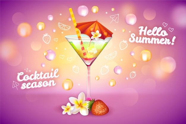 Summer cocktail drink ad Free Vector