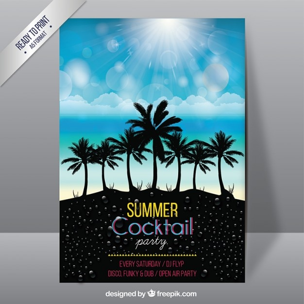 Summer cocktail party poster Free Vector