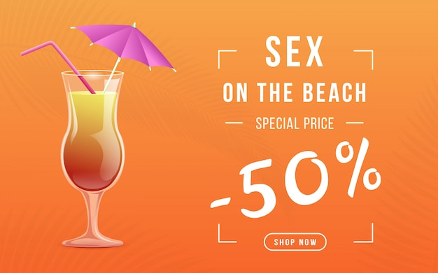 Summer cocktail special price web banner Premium Vector
