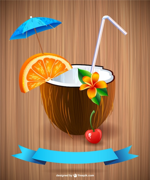 Summer cocktail vector Free Vector