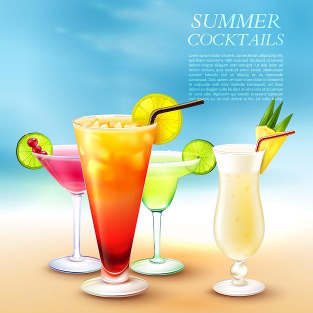 Summer cocktails illustration Free Vector