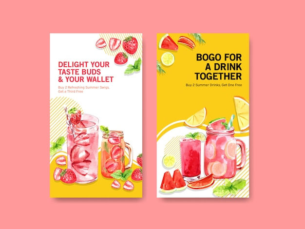 Summer cocktails for instagram stories templates Free Vector