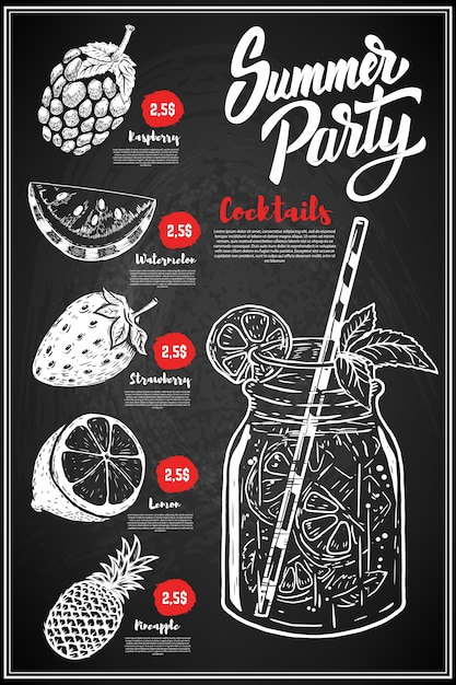 Summer cocktails menu cover layout. menu chalkboard with hand drawn illustrations of raspberry, lemon, watermelon, strawberry, pineapple. Premium Vector