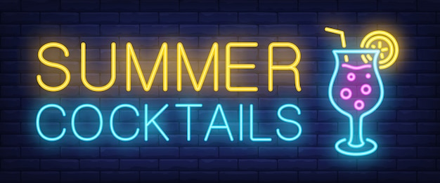 Summer cocktails neon sign. glowing lettering with cocktail Free Vector